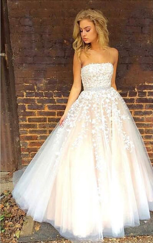Pretty strapless lace appliques evening dresses tulle prom dress B91