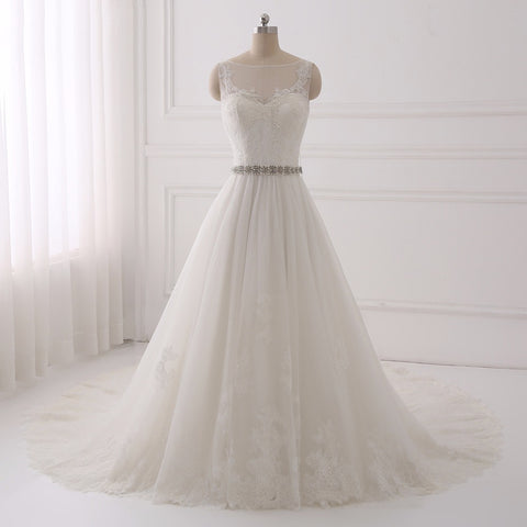 Princess wedding dresses tulle sleeveless lace up dress D86