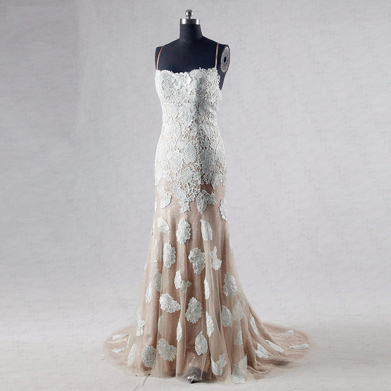 Shop Lace appliques long formal dresses tulle mermaid ball gown ...