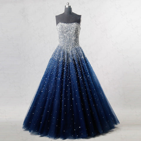 Royal blue tulle ball gown strapless formal dresses E53