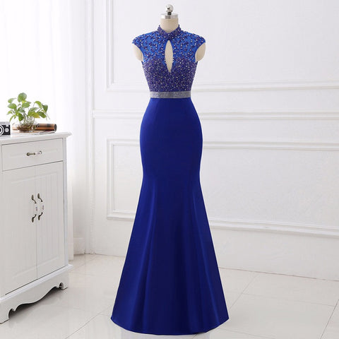 Royal blue high collar evening dresses satin mermaid ball gown E32