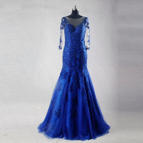 Royal blue lace formal dresses long sleeve tulle ball gown B09
