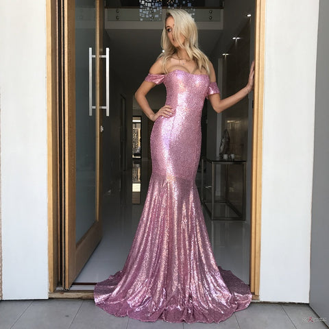Sequins mermaid prom dress evening party dresses B48