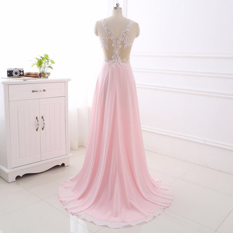 Sexy A-line evening dresses appliques chiffon sleeveless formal dress E34
