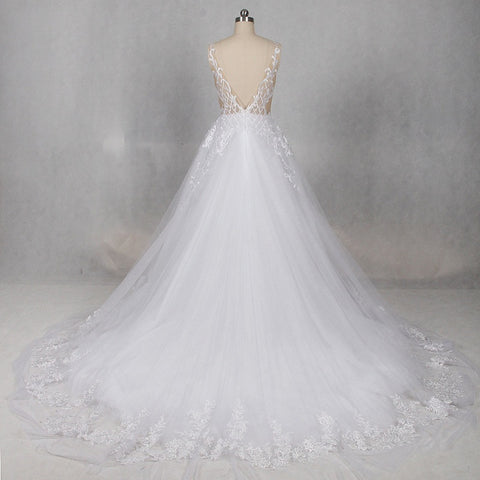Sexy backless tulle wedding dresses princess V-neck dress W03
