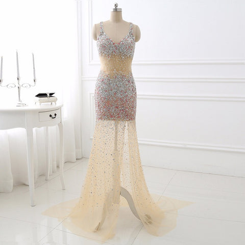 Sexy beaded sweep evening dresses open back ball gown E44