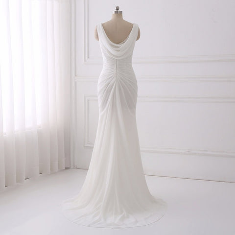 Sexy chiffon V-neck mermaid wedding dresses with crystal D88