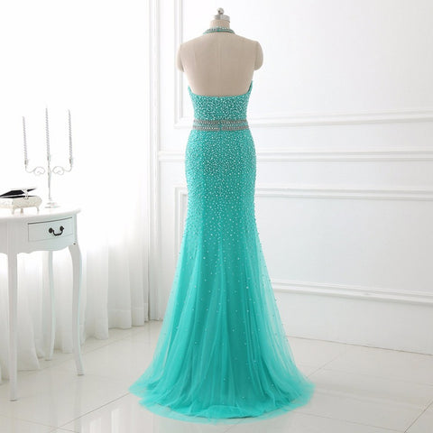 Sexy halter tulle evening dresses mermaid formal dress E11