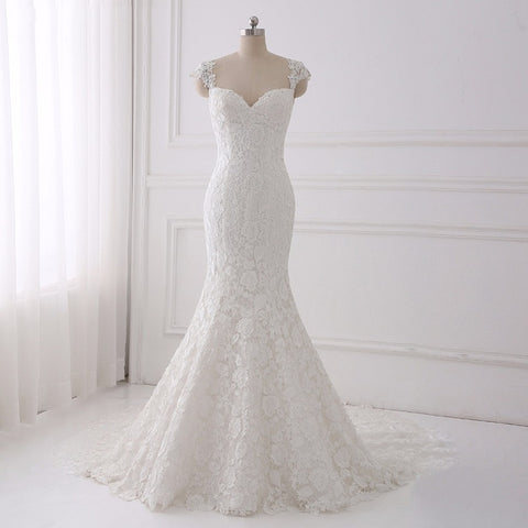 Long lace asymmetrical wedding dress mermaid bohemian zipper D51