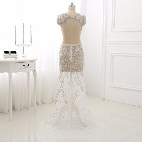 Sexy mermaid evening dresses backless tulle formal dress E29
