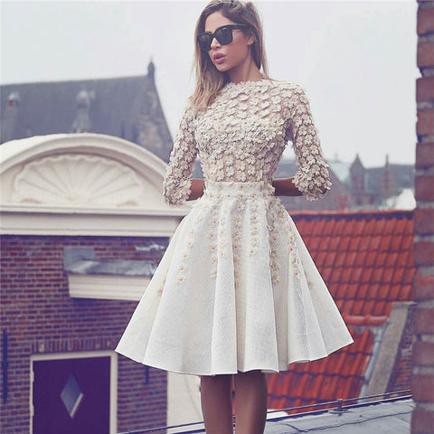 Short lace flowers glamorous A-line cocktail dresses T39