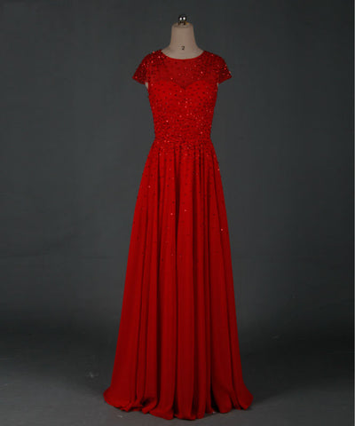 Short sleeve formal dresses red chiffon ball gown B08