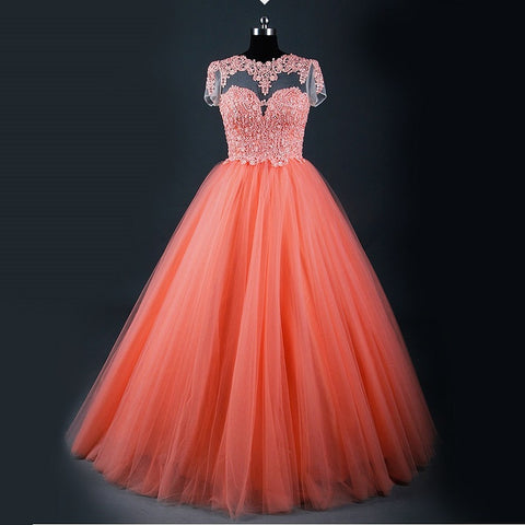 Short sleeve keyhole back elegant tulle ball gown princess B04