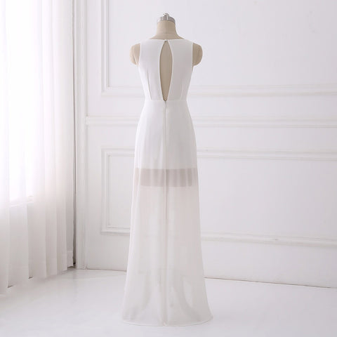 Simple chiffon V-neck wedding dress asymmetrical party dress D84