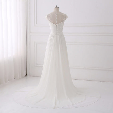 Simple chiffon asymmetrical wedding dresses A-line elegant dresses D52