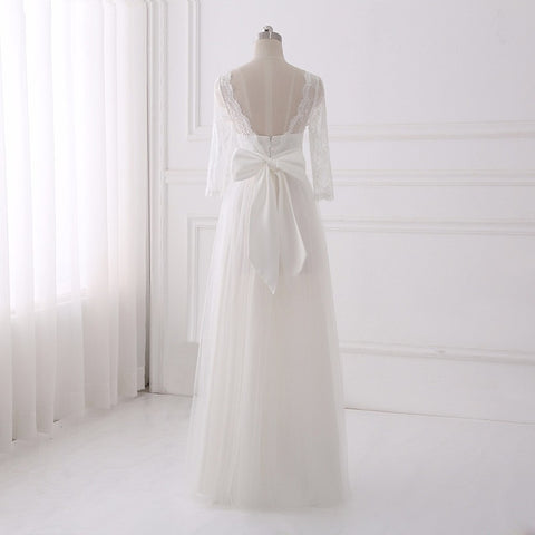 A-line tulle wedding dresses long sleeve sexy backless dress D79