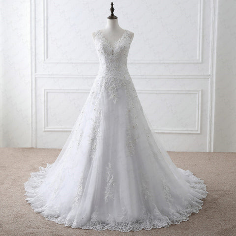 Sleeveless A-line appliques wedding dresses V-neck tulle dress W11