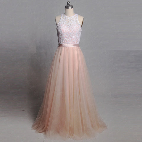 Sleeveless O-neckline keyhole back evening dresses tulle dress B32