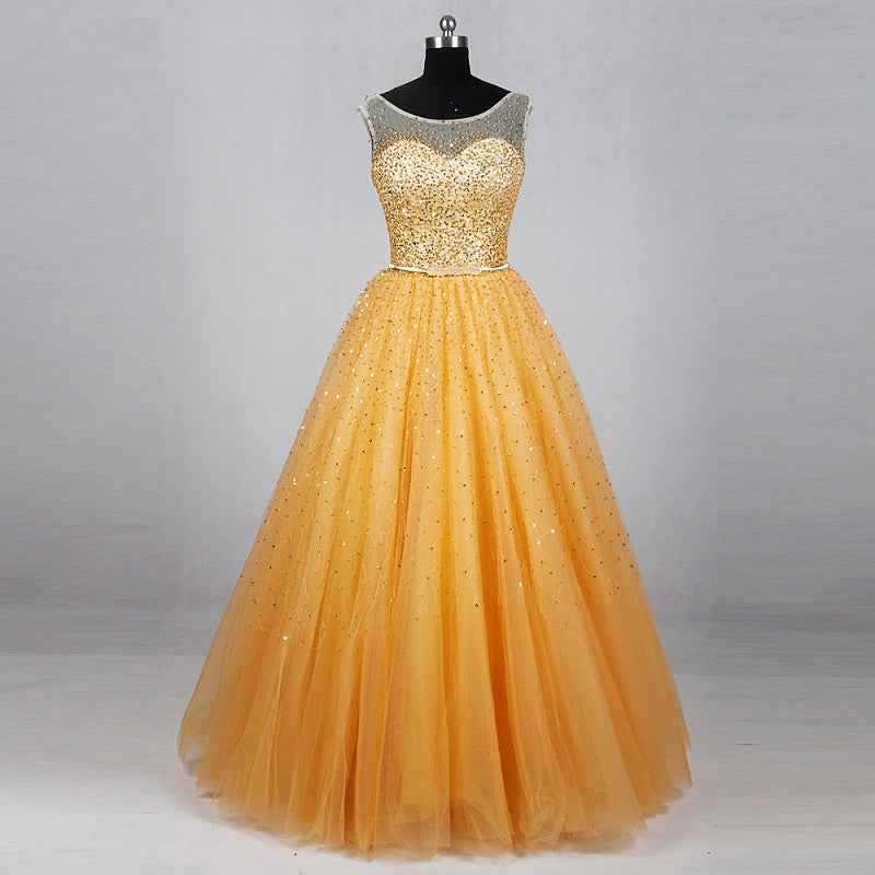 Shop Sleeveless gold gowns sequin ball gown tulle formal dresses ...