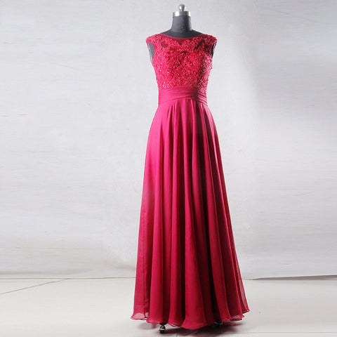 Sleeveless lace appliques dresses chiffon long ball gown B23