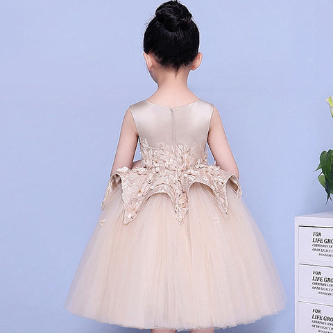Sleeveless light brown puffy tulle flower girl dresses F02