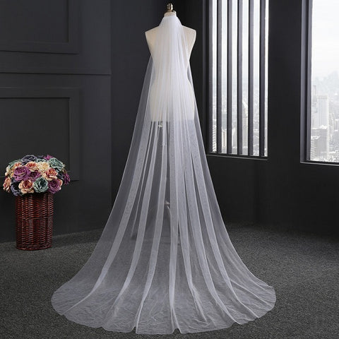 Soft tulle long one layer bridal veil wedding accessories D44