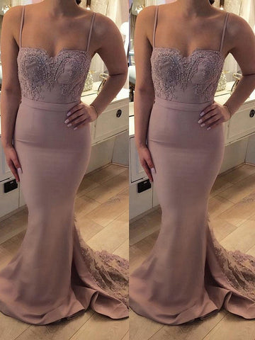 Spaghetti-strap lace prom dress mermaid evening party dresses B53