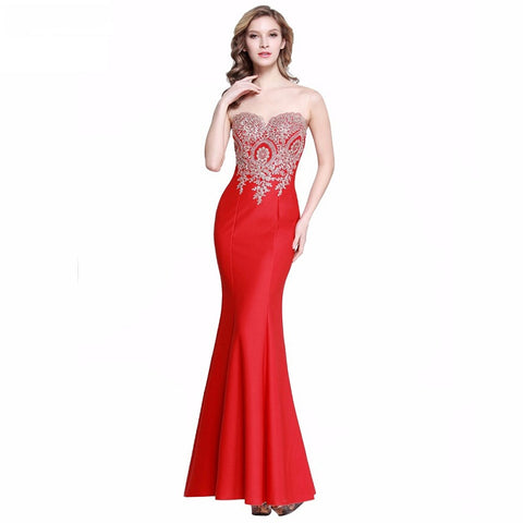 Strapless mermaid evening dresses Chiffon appliques formal dress E06