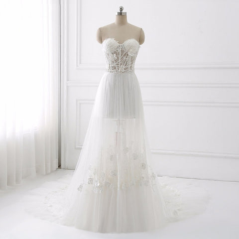 Strapless sexy wedding dress A-line tulle bohemian dresses D54