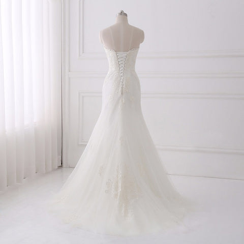 Strapless tulle mermaid wedding dress lace up back D83