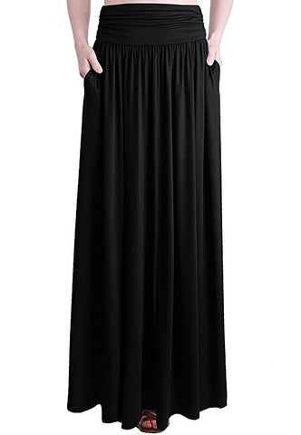 Summer spandex shirring long skirt for women S111