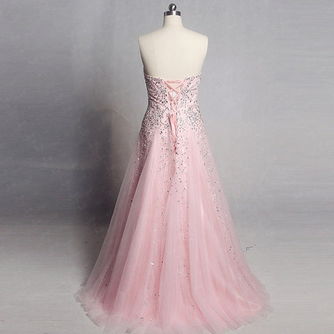 Sweetheart neckline A-line formal dresses crystal tulle ball gown B17