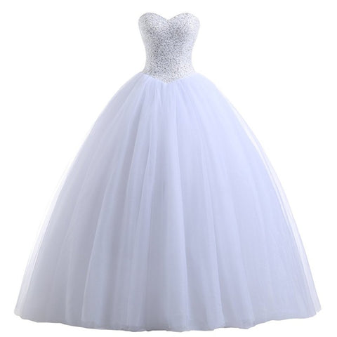 Tulle princess wedding dresses beading bodice evening dress E18