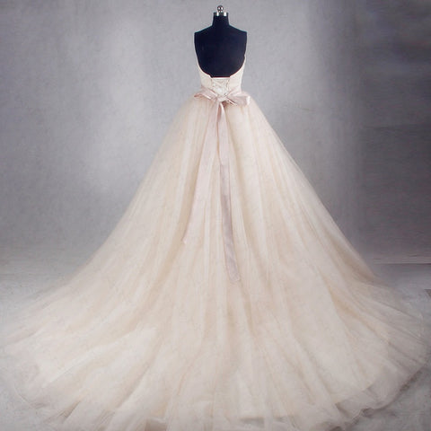 Tulle strapless wedding dresses simple asymmetrical princess dress W07