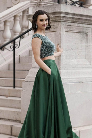 Two pieces beads prom dresses evening dress B59
