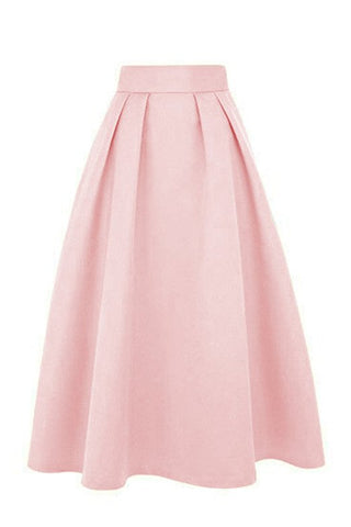 Vintage flared pleated A-line knee-length skirt for women S101