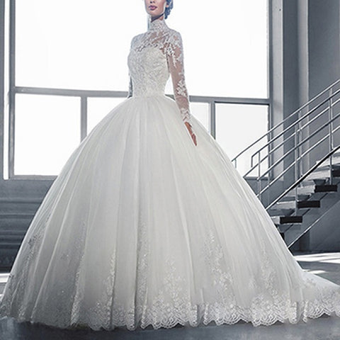Wedding dresses long sleeve floor length lace princess dresses D28