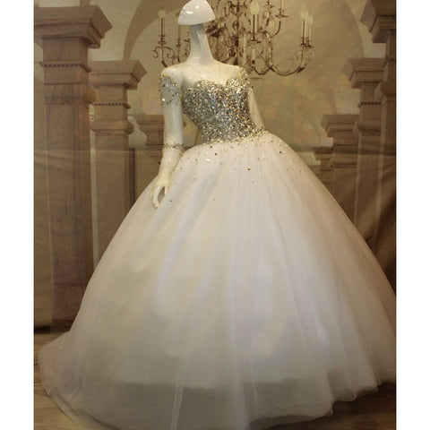 Princess wedding dresses floor length luxury crystal dresses D36