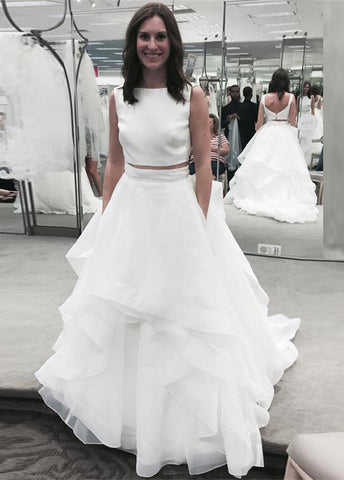 White ruffles jewel newest A-line two-piece sleeveless wedding dresses W29