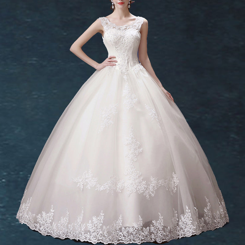 Charming Lace Princess Wedding Dresses Boat Neck Off Shoulder D04