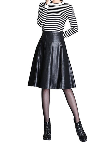 Women A-line faux leather knee-length skirt S113
