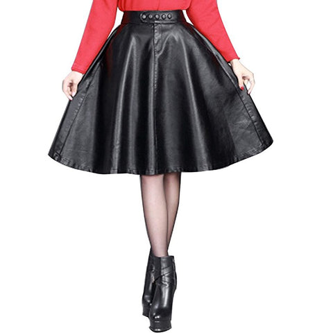 Women A-line faux leather pleated knee-length skirt S86