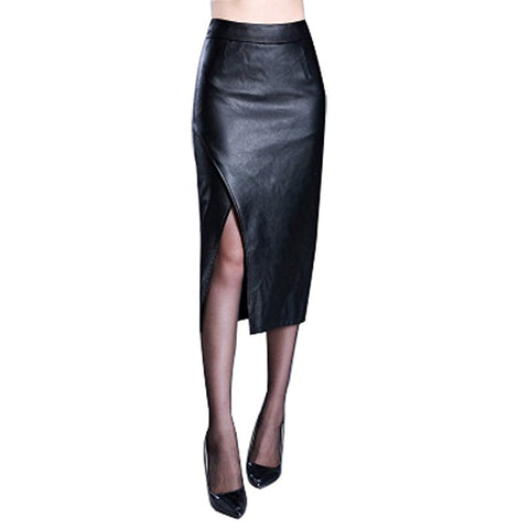 Women black faux leather knee-length skirt S97