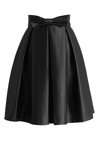 Women bow pleated A-line knee-length skirt S99
