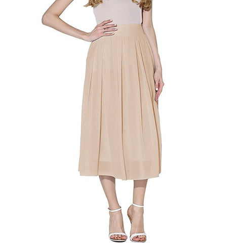 Women chiffon high waist pleated flowy long skirt S108