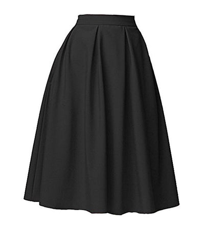 Women stain high waist A-line knee-length skirt S109