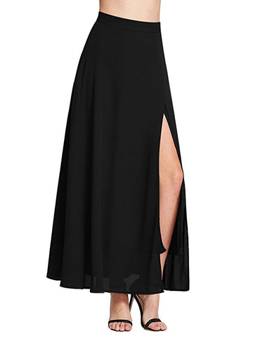 Women front side split slit chiffon long skirt S98