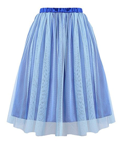 Women knee-length tulle skirt tutu skirt pleated skirt A-line S15