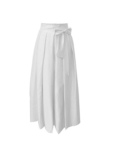Women pleated long skirt bow high waist S115