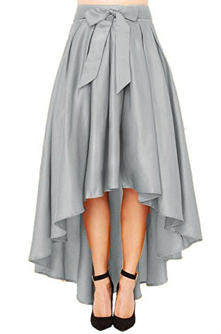 Women's A-line skirt asymmetric skirt Knee-length pleated skirt S06